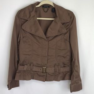 Ideology Petite Brown Button Jacket